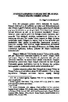 Paşa Yavuzaslan - Anadolu Sahasında Yazılmış Eski Bir erebce-Türkce Sözlük Üzerine Notlar