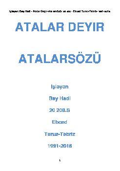 Atalar Deyir_Atalarsözü_ Işləyən_Bey Hadi _20 200 – Latin_Turuz _ Tebriz _ 1991_2016