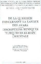 Avar Dili-De La Guestion Consernant La Langue Des Avars-Fransaca - Janos Hamatta - 1988