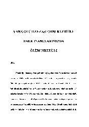 Van Gölü Havzesi Örnekleri Ile Xalq Inanclarımızda Ölüm Meleği-33s
