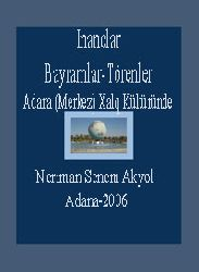Inanclar-Bayramlar-Törenler -Adana Xalq Kültüründe