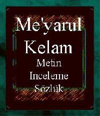 Miyarul Kelam-Metin-Inceleme-Sözlük