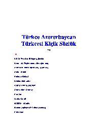 Turkce Azererbaycan Turkcesi  Kichik Sozluk