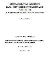 Güney Azerbaycan ŞAiri Bulud QaraçOrlunun-Sehendin- Nezminde Dil ÖZellikleri-Ali Selami Başoğlu-malatya-2009-579s