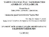 Vüsale Musalı-Kesli-1-Mamud Kamal Inal Tezkirsinde Azerbaycanlı Şairler-2-Türkiyede Şüera Tezkirelerinin Neşrine Dair-3-XVI.Esr Mahacir Azerbaycan Şairi Arifinin Hayat Ve Yaradcılığı Tezkirelerde