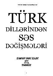 Türk Dillerinden Ses Değişmeleri-Bey Hadi