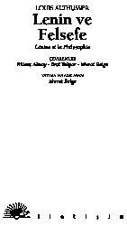 Lenin Ve Felsefe-Louis Althusser-Bulend Aksoy-1989-121s